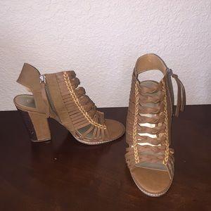 Cognac Wedged Sandals